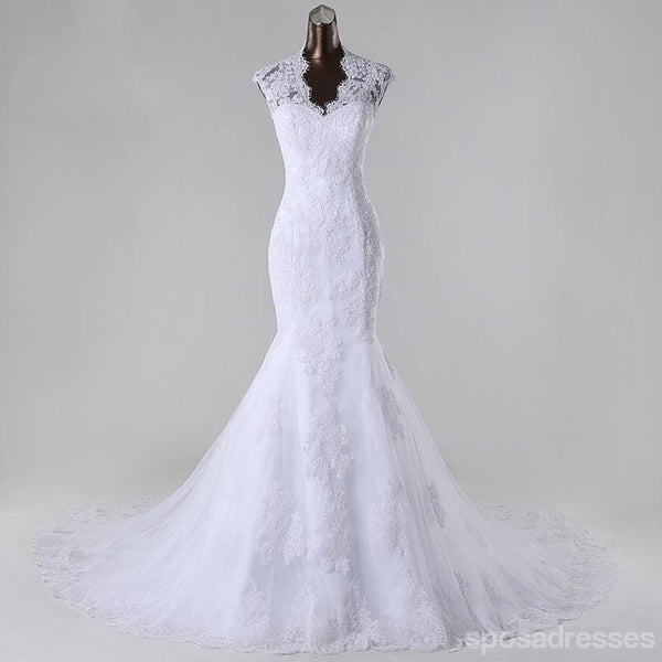 High Neckline See Through Lace Mermaid Wedding Bridal Dresses, Custom Made Wedding Dresses, Affordable Wedding Bridal Gowns, WD251