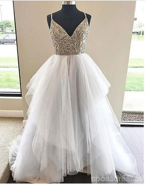 Spaghetti Straps V Neckline Heavily Beaded Long Evening Prom Dresses, Popular Cheap Long 2018 Party Prom Dresses, 17249