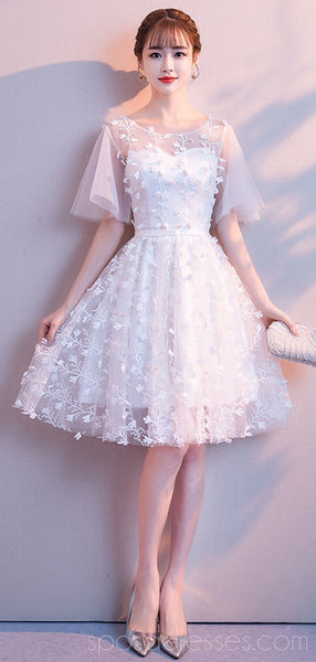 Sweet Off White Lace Cheap Homecoming Dresses Online, Cheap Short Prom Dresses, CM775