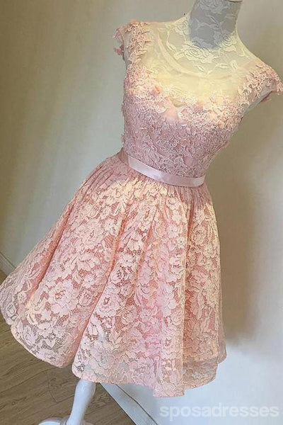 High Low Peach Lace See Through Back Short Homecoming Prom Dresses, Affordable Short Party Prom Sweet 16 Dresses, Perfect Homecoming Cocktail Dresses, CM367