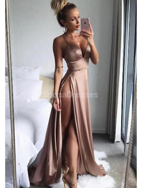 Sexy Side Slit Spaghetti Straps Long Evening Prom Dresses, Evening Party Prom Dresses, 12223