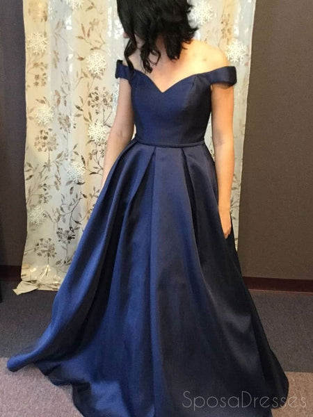 Simple Off Shoulder Navy A-line Long Evening Prom Dresses, 17551