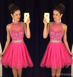 Sexy Two Pieces Beaded Hot Pink Halter homecoming prom dresses, CM0016