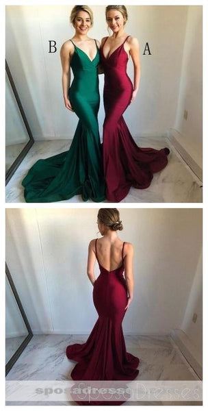 Spaghetti Straps Burgundy Mermaid Long Evening Prom Dresses, Cheap Sweet 16 Dresses, 18320