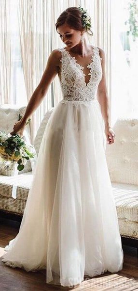 Lace See Through V Neck Cheap Wedding Dresses, Cheap Wedding Gown, WD699