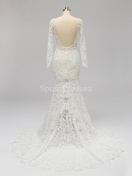 Long Sleeves Backless Lace Mermaid Wedding Dresses Online, Cheap Unique Bridal Dresses, WD585