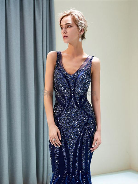 V Neck Navy Sparkly Heavily Beaded Mermaid Evening Prom Dresses, Evening Party Prom Dresses, 12036