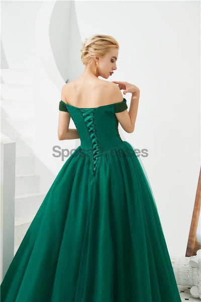 Emerald Green Off Shoulder A-line Long Evening Prom Dresses, Evening Party Prom Dresses, 12129