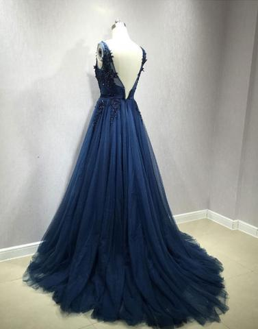 Sexy Backless V Neckline Navy Lace Beaded Evening Prom Dresses, Popular Navy Tulle Party Prom Dress, Custom Long Prom Dresses, Cheap Formal Prom Dresses, 17155