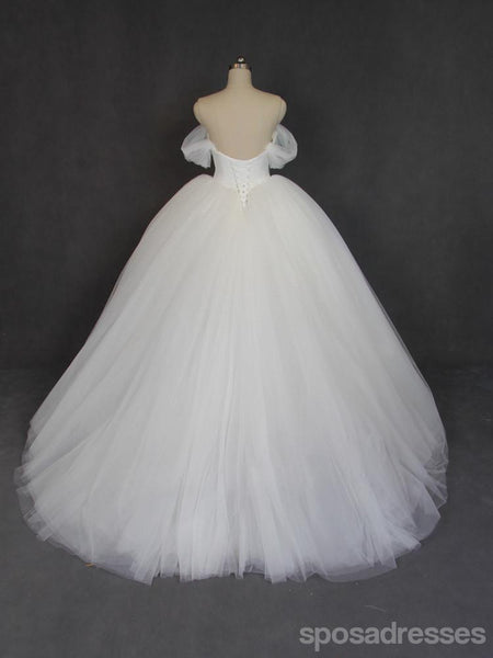 Off Shoulder Ball Gown Tulle Wedding Dresses, Custom Made Wedding Dresses, Cheap Wedding Gowns, WD209