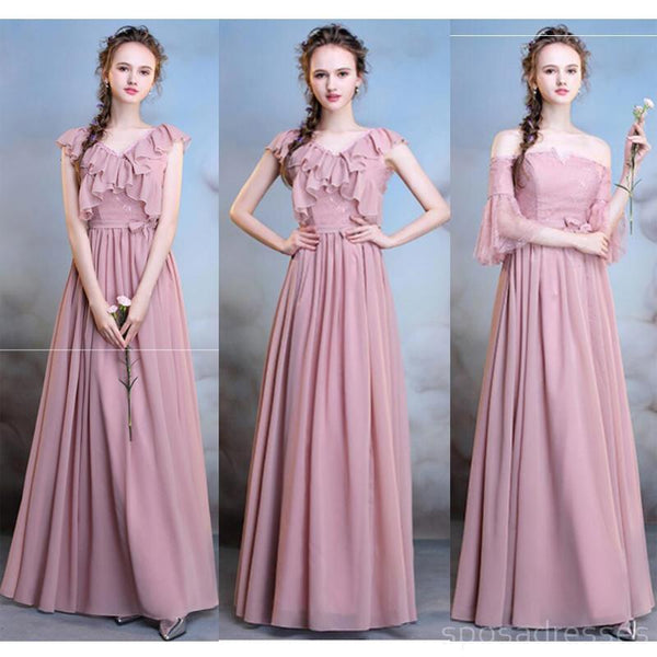 ff60ea22d0c9 Chiffon Dusty Pink Long Mismatched Simple Cheap Bridesmaid Dresses Onl –  SposaDresses