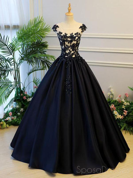 Cap Sleeve Black Lace A line Simple Long Evening Prom Dresses, Long Party Prom Dresses, 17327