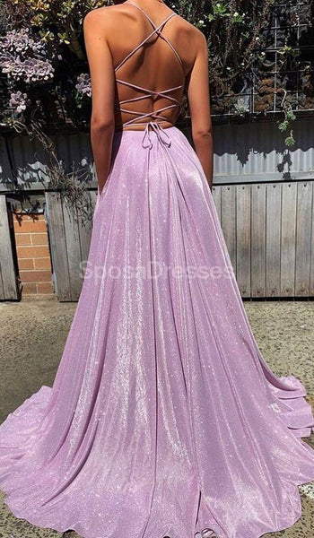 Simple Lilac Spaghetti Straps Cheap Long Evening Prom Dresses, Evening Party Prom Dresses, 12225