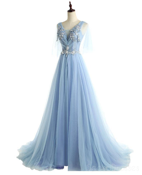 Two Straps V Neckline Light Blue Lace Beaded Unique Long Evening Prom Dresses, Popular 2018 Party Prom Dresses, Custom Long Prom Dresses, Cheap Formal Prom Dresses, 17221