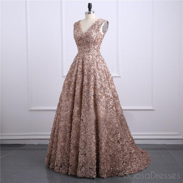 Brown Lace V Neckline A line Long Evening Prom Dresses, Popular Cheap Long 2018 Party Prom Dresses, 17243