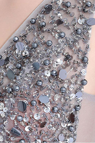Sexy Backless See Through A line Beaded Gray Long Evening Prom Dresses, Popular Cheap Long 2018 Party Prom Dresses, 172655
