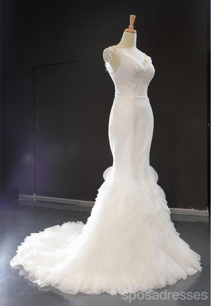 Spaghetti Straps Ruffle Mermaid Cheap Wedding Dresses Online, Cheap Bridal Dresses, WD620