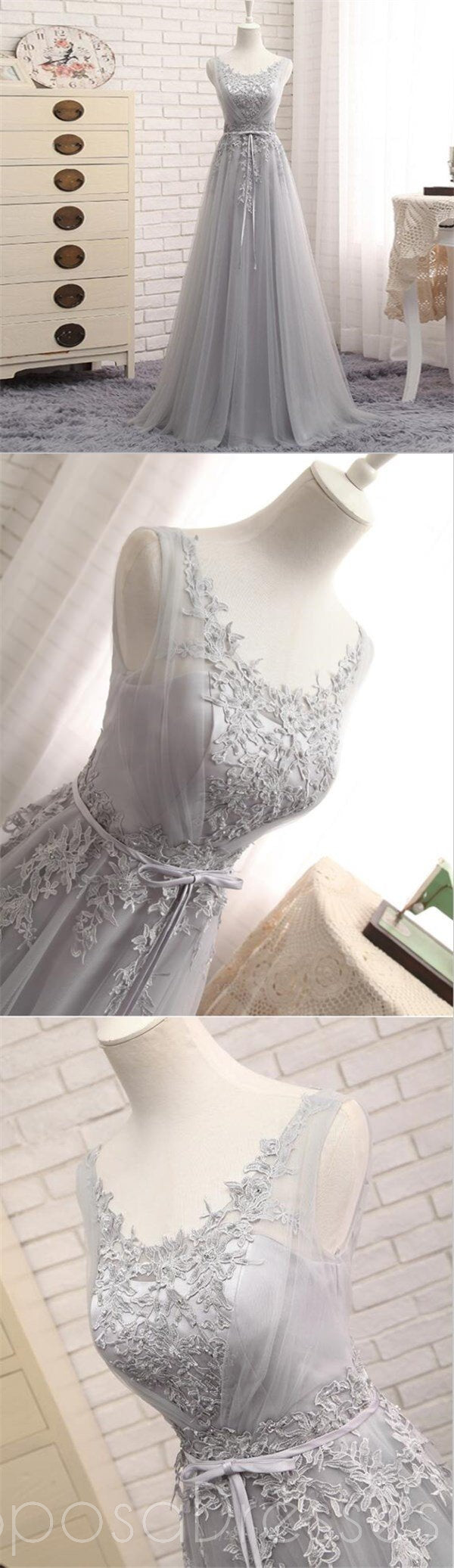 Scoop Neckline Gray Lace Evening Prom Dresses, Popular Lace Party Prom Dresses, Custom Long Prom Dresses, Cheap Formal Prom Dresses, 17183