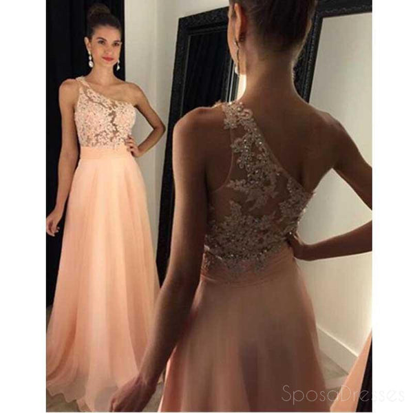 One shoulder Chiffon Lace Long Evening Prom Dresses, Sexy See Through Party Prom Dress, Custom Long Prom Dresses, Cheap Formal Prom Dresses, 17044