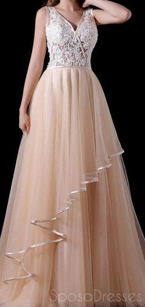 A-line Lace Sleeveless Custom Prom Dresses, Sweet 16 Prom Dresses, 12438