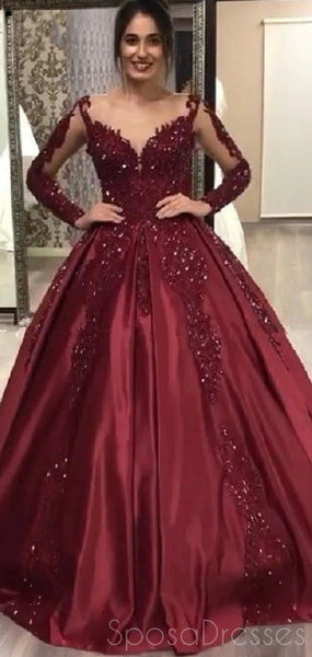 Burgundy Long Sleeves Applique Prom Dresses, Sweet 16 Ball Gown Dresses, 12444