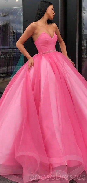 Ball Gown Pink Sweetheart Long Prom Dresses, Sweet 16 Prom Dresses, 12446