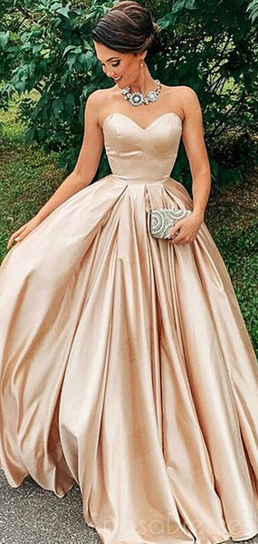A-line Strapless Sleeveless Cheap Long Prom Dresses, Sweet 16 Prom Dresses, 12447