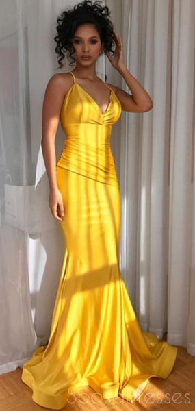 Mermaid V Neck Sleeveless Yellow Long Prom Dresses, Sweet 16 Prom Dresses, 12457