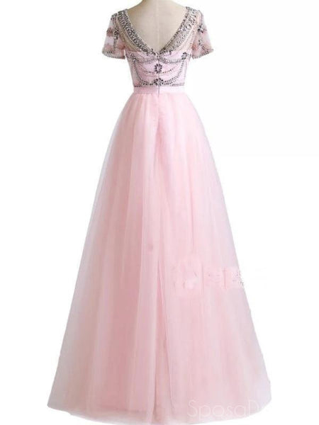 A-line Round Neck Short Sleeves Long Prom Dresses, Sweet 16 Prom Dresses, 12468