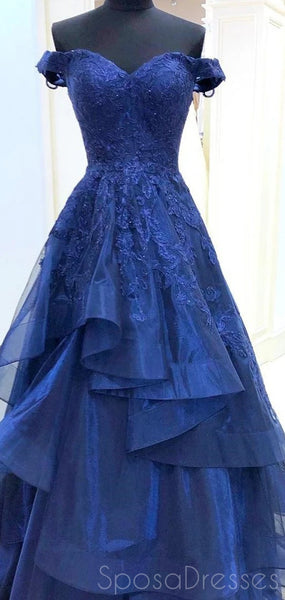 A-line Applique Off The Shoulder Long Prom Dresses, Sweet 16 Prom Dresses, 12481