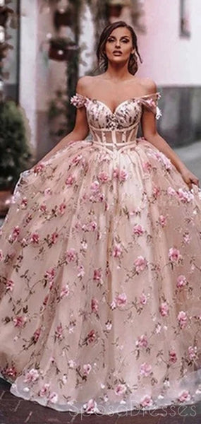 Pink A-line Off The Shoulder Custom Prom Dresses, Sweet 16 Prom Dresses, 12489