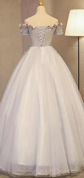 Tulle Applique Off The Shoulder Long Prom Dresses, Sweet 16 Prom Dresses, 12493