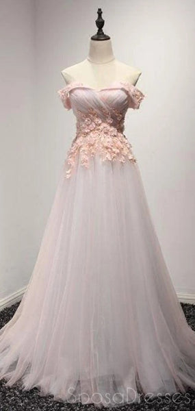Elegant Tulle Applique Off The Shoulder Prom Dresses, Sweet 16 Prom Dresses, 12494