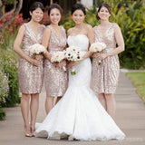 Sequin Off Shoulder V-Neck Shinning Knee-Length Cheap Bridesmaid Dresses, WG124