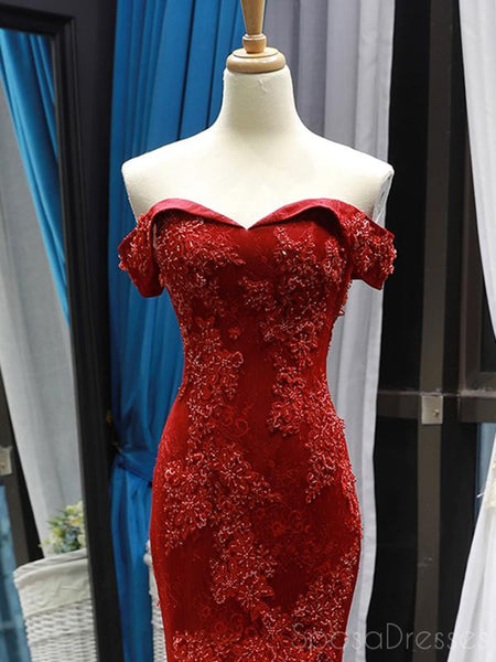 Mermaid Lace Strapless Red Long Prom Dresses, Sweet 16 Prom Dresses, 12503