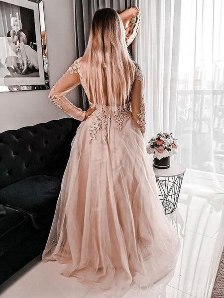 A-line Long Sleeves Applique Long Prom Dresses, Sweet 16 Prom Dresses, 12514