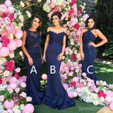 Mismatched Sexy Different Styles Mermaid Navy Blue Bridesmaid Dresses, WG127