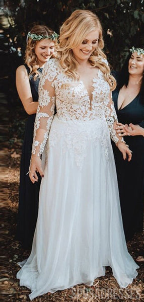 Long Sleeves Chiffon Beach Plus Size Wedding Dresses Online, Cheap Bridal Dresses, WD649