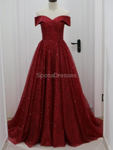 Off Shoulder Dark Red Sparkly A-line Long Evening Prom Dresses, Evening Party Prom Dresses, 12296