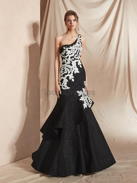One Shoulder Ruffle Black Mermaid Evening Prom Dresses, Evening Party Prom Dresses, 12075