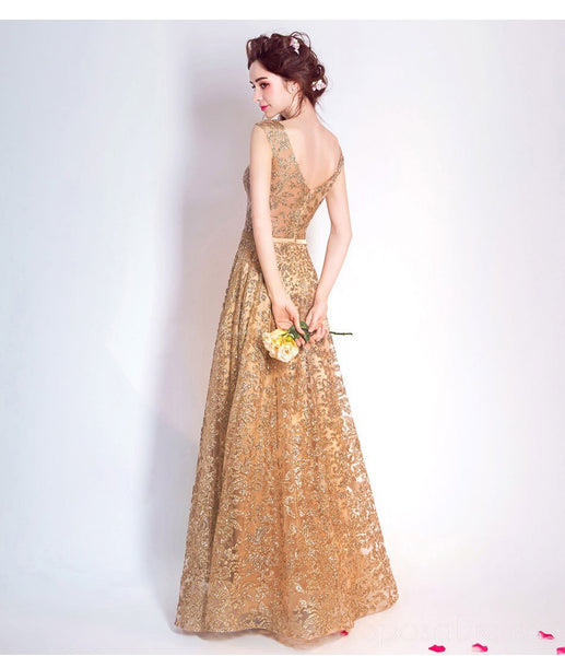 Gold Sequin Lace See Through Cheap Long Evening Prom Dresses, Cheap Custom Sweet 16 Dresses, 18528