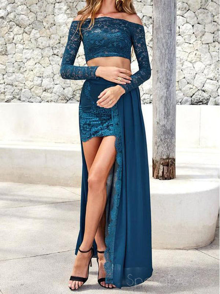 Sexy Long Sleeve Two Pieces Teal Lace Long Evening Prom Dresses, 17464
