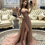 Sexy 2 Pieces Deep V Neckline Simple Chiffon Long Evening Prom Dresses, Popular Cheap Long Custom Party Prom Dresses, 17323