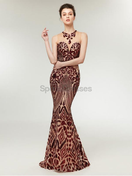 Rose Gold Sequin Sparkly Mermaid Evening Prom Dresses, Evening Party Prom Dresses, 12011