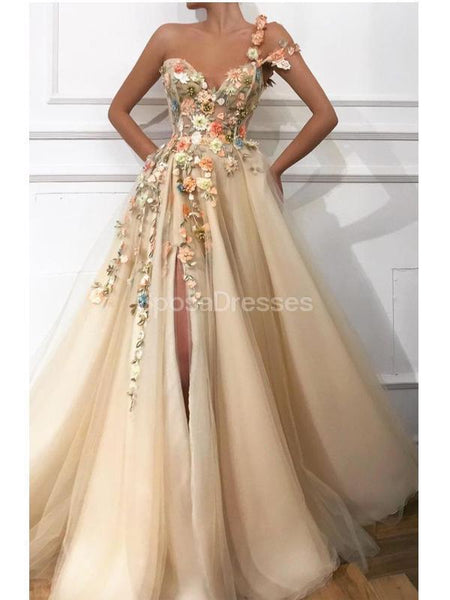 Flower Shoulder Side Slit Cute Long Evening Prom Dresses, Evening Party Prom Dresses, 12224