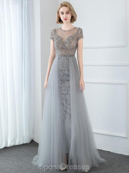 Short Sleeve Heavily Beaded Grey Long Cheap Evening Prom Dresses, Evening Party Prom Dresses, 12327