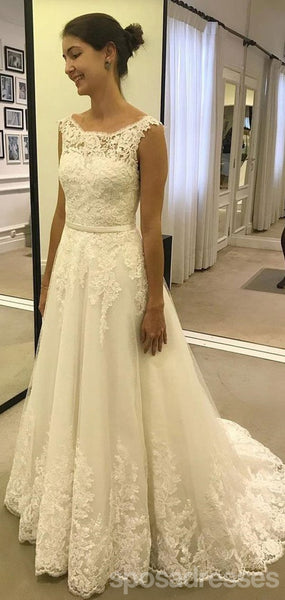 Cap Sleeves A line Bateau Lace A line Cheap Wedding Dresses Online, Cheap Lace Bridal Dresses, WD458