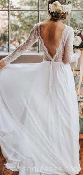Long Sleeves Backless Beach Long Wedding Dresses Online, Cheap Bridal Dresses, WD527