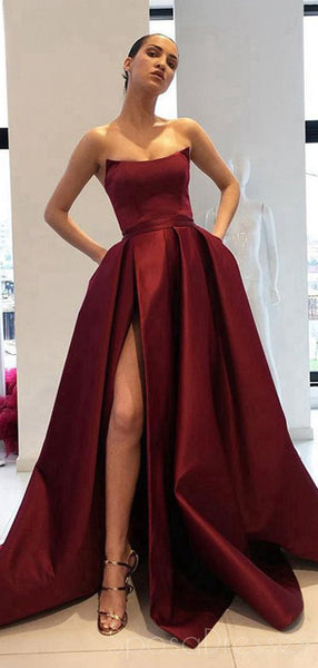 Simple Side Slit Cheap Maroon A-line Long Evening Prom Dresses, Cheap Sweet 16 Dresses, 18364