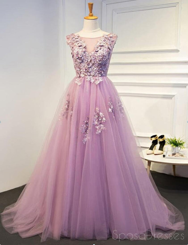 Pink Lace Beaded A line Tulle Evening Prom Dresses, Cheap Party Prom ...